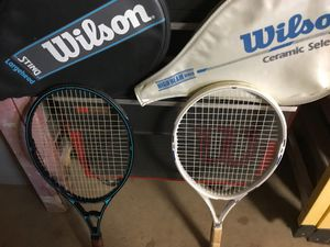 His and hers tennis rackets and racquetball rackets for Sale in Manteca, CA