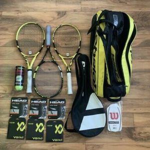 Babolat Pure Aero 2019 setup BUNDLE STRUNG READ DESCR LOT ITEMS Tennis Racquet Racket for Sale in Houston, TX