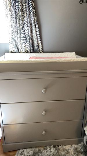Gray Grey Diaper Change Changing Table 3 Drawer Dresser for Sale in Allentown, PA
