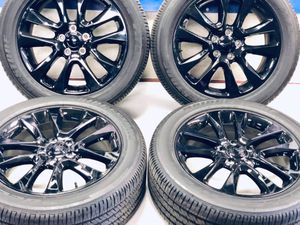 """20"""" Jeep Grand Cherokee 2019 OEM black wheels rims tires OE 9167 2017 2018 2020 Tires like brand new rims A shape Package deal 1395.00 Shipping a for Sale in Macomb, MI"""