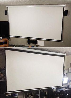 "New in box $45 Manual 100"" 16:9 Projector Screen Manual Pull Down Matte White Viewing Area: 87""x49"" for Sale in Pico Rivera, CA"