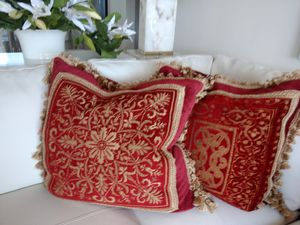 Velvet Red/Gold Down Castle Pillows for Sale in West Palm Beach, FL