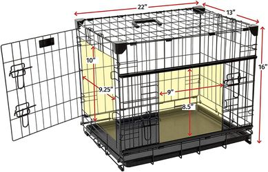 """Lucky Dog 22"""" (XS) Slyder Whisper Glide Sliding Door Dog Crate   2nd Side Door Access   Patented Corner Stabilizers   Removable Tray   Rubber Feet   C for Sale in Houston,  TX"""