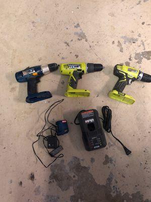 3 Ryobi 18v drill drills & 2 chargers p209 2014 p208b 2013 p205 2012 p118 2014 p111 2012 for Sale in Boynton Beach, FL
