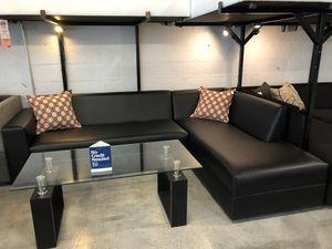 Black Vinyl 2PC Sectional Sofa 🏷 for Sale in Miami Springs, FL