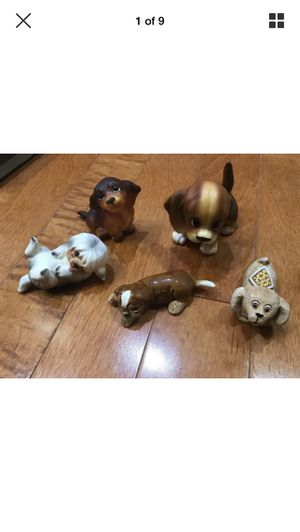 Lot Of 5 Ceramic & Clay Collectible Dog Figurines Statues 1 Goebel 3 Norcrest 1 clay for Sale in Miami, FL