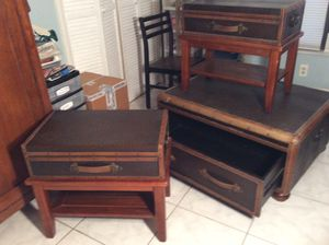 3 leather tables with storage for Sale in Lake Wales, FL