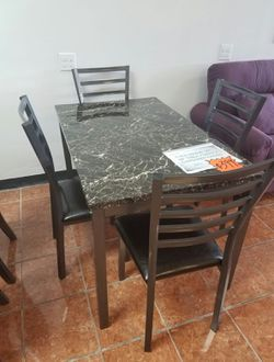 [F2368] 5-PCS DINING SET FORMICA TABLE + 4 CHAIRS [ONLY $50 DOWN AND 90 DAYS TO PAY SAME AS CASH] for Sale in Irving,  TX