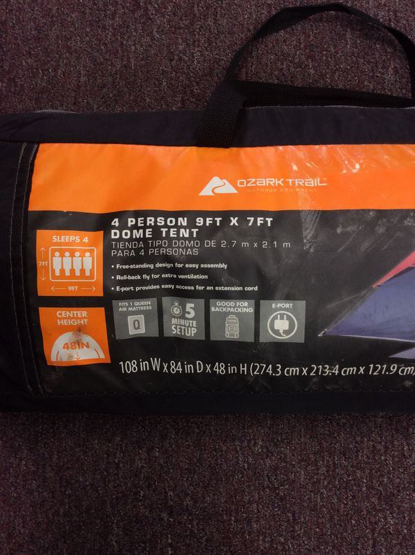 Ozark Trail 4 person 9f X 7f Dome Tent. Fits Queen Air Mattress and 4ft Center Height