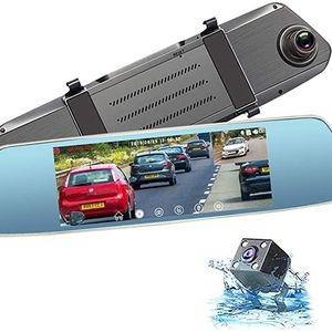 Mirror Dash Cam, Caidrox 7 inch Touch Screen Dual Lens Dash Cam Front and Rear Rear View Mirror Camera 1080P with G-Sensor PORMIDO and Night Vision, W for Sale in Ontario, CA