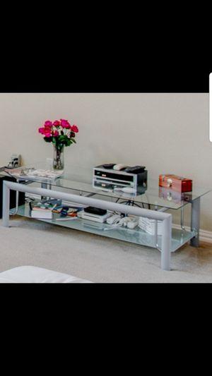 2 tier glass coffe table / center console for Sale in Dallas, TX