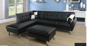 No credit no problem 100 days no interest black faux leather sectional pillow storage ottoman for Sale in Takoma Park, MD