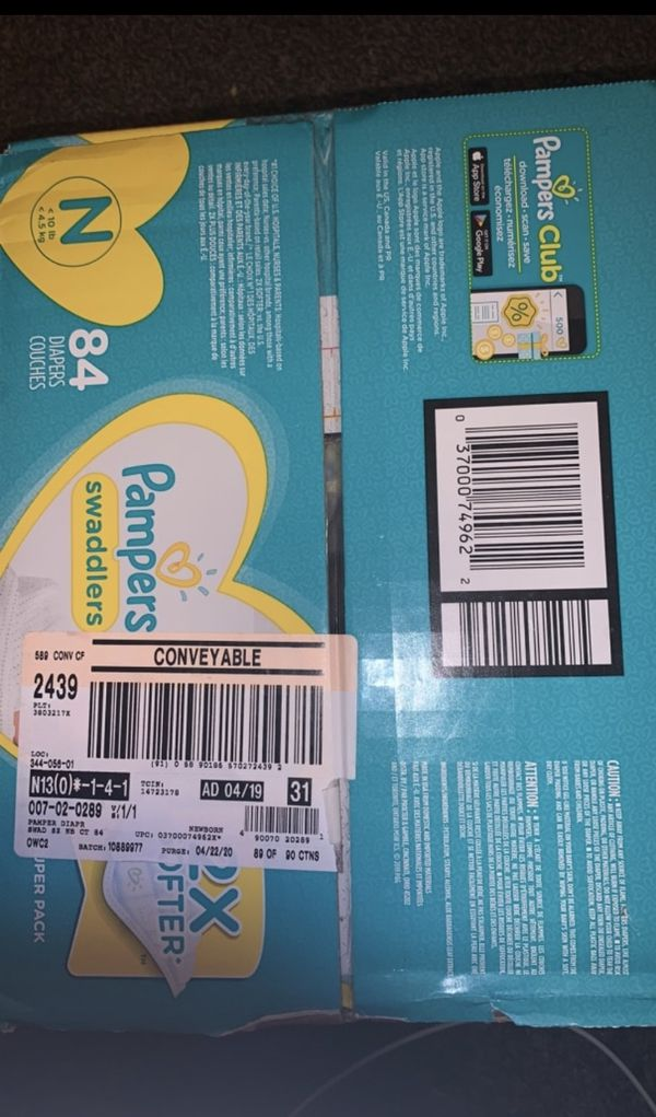Brand new box of newborn diapers