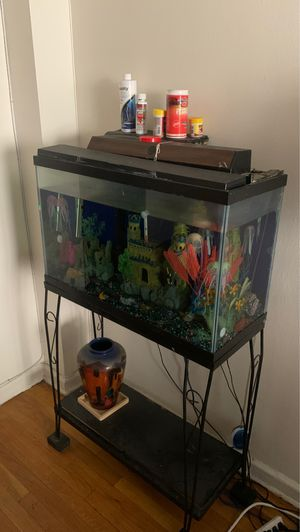 Fish tank with decor base not included for Sale in Queens, NY