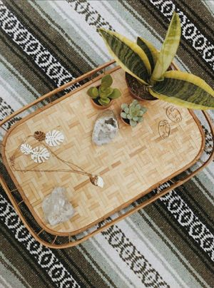 Vintage tropical bamboo and wicker tray/serving tray /boho home decor for Sale in Whittier, CA