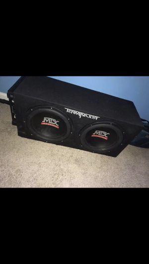 "2 12"" MTX terminator sub + Box Enclosure + 1500 watt SSL amp for Sale in Germantown, MD"