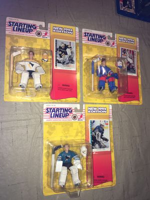 1994 kenner starting lineup action figure hockey goalie set Mike Richter Tom barrasso Irbe for Sale in Rochester Hills, MI