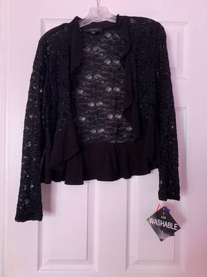 R&M Richards Black Floral Ruffle Jacket for Sale in Miami Lakes, FL