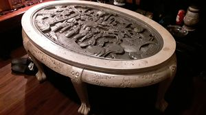 Antique hand carved Asian wooden coffee table amazing detail and missing the glass only asking 6:40 negotiable to sell for Sale in Houston, TX