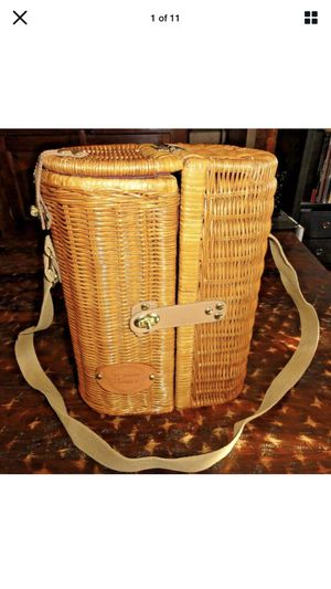 Vtg Wicker Wine Basket Tote Le Tour de France Glasses Carrier Opener Bicycle for Sale in Rancho Cucamonga, CA