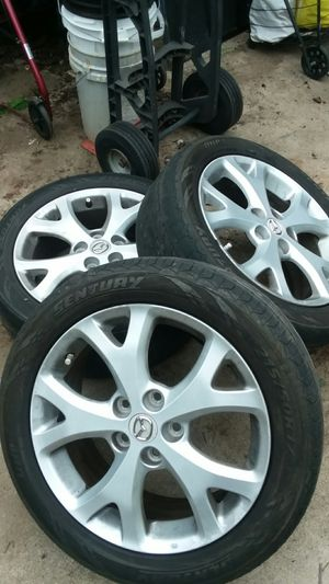 """2 Mazda 5 lug 17 """" rims two have air sensors one has a regular valve for Sale in Escondido, CA"""