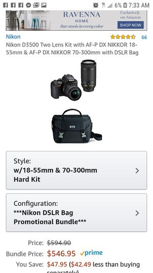 nikon d3500 18-55 vr +70+300 kit plus filter lenses for Sale in Downers Grove, IL