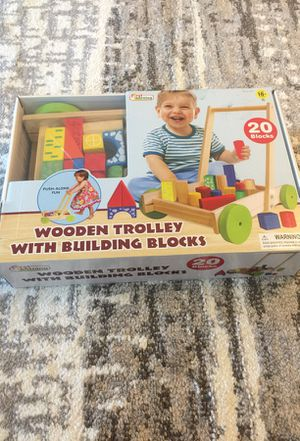 Wooden trolley with building blocks for Sale in Lombard, IL