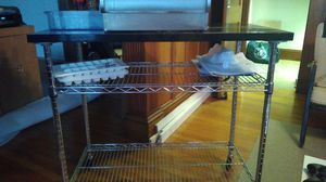 Marble-topped mobile kitchen island for Sale in Belmont, MA