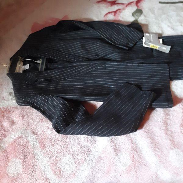 Womens Black Pin Stripe Suit