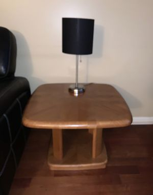 Set of TWO end tables. (One shown. The other is identical. ). Solid, heavy oak. Very Good Condition. Moving. Cocktail table sold separately. No low for Sale in Newtown, PA