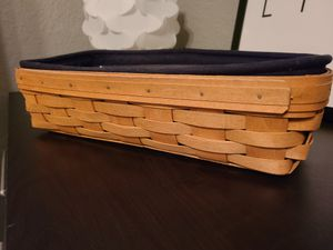 "Longaberger Bread Basket, Black Liner and Plastic Protector 14.75 X 7.75"" for Sale in Clearwater, FL"