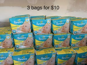 Pampers NEWBORN diapers 3 bags for $10 for Sale in El Monte, CA