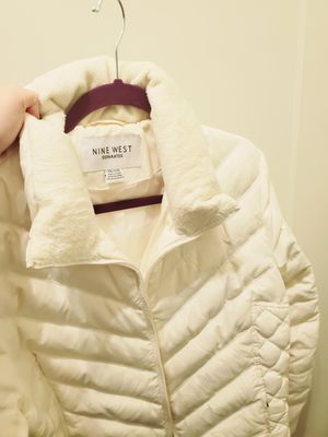 Nine west white fluffy parka for Sale in Aurora, CO