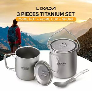 Lixada Titanium Cup/Pot/Spoon for Outdoor Camping Picnic Hiking Backpacking D9X0 for Sale in Pikeville, TN