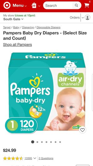 Pampers baby dry size 1 total 120 diapers for Sale in Bell, CA