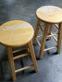 2 Wood Stools $12 For Both Of Them. 12 In Across Seat 24 In Tall Long Beach 90814 Cash Only for Sale in Long Beach,  CA