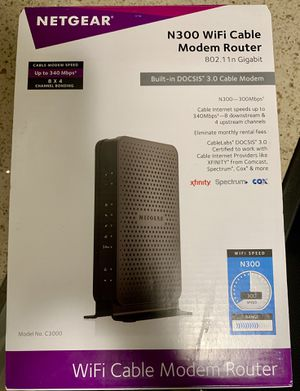 NETGEAR N300 WiFi cable modem router for Sale in Sunnyvale, CA