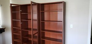 Three Bookshelves, One with Glass Doors for Sale in Streamwood, IL