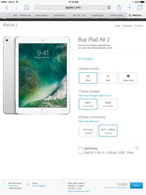 Brand new apple iPad Air 2-wifi +cellular+apple care for Sale in Baltimore, MD