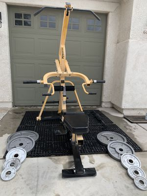Powertec Olympic gym squat rack bench press weights for Sale in Tucson, AZ