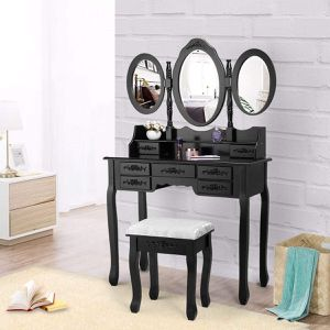 Vanity Makeup Dressing Table Set 3 Mirrors and 7 Drawers with Cushion Bench Stool for Sale in Houston, TX