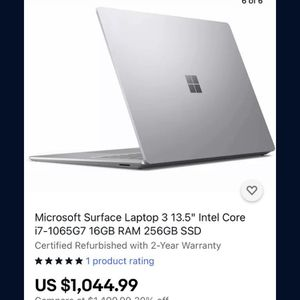 """Microsoft Surface Laptop 3 13.5"""" Intel Core i5-1035G7 8GB RAM 128GB SSD Certified Refurbished with 2-Year Warranty for Sale in Concord, CA"""