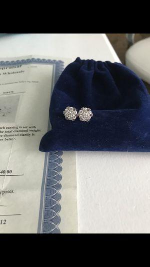 14k white gold 1.05 carat diamond earrings for Sale in West Linn, OR