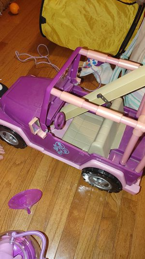 Doll car and american girl balance toy for Sale in Redford Charter Township, MI