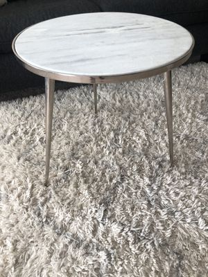 Round White Marble Top Side Table - Silver for Sale in Warner Robins, GA