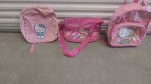 Backpack school bag and backpack on wheels all three Hello Kitty new with tags for Sale in Garland, TX