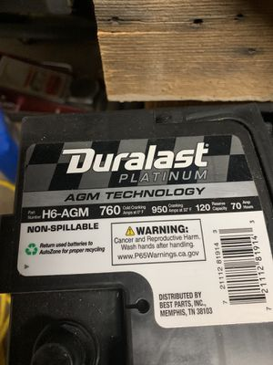New battery for 2014 Silverado warranty swap out asking 120.00 or trade for Milwaukee m18 saw for Sale in Phoenix, AZ