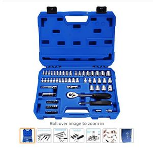 Powerextra Impact Socket Set 65 Pieces 1/4 Socket Wrench Set and 3/8 Inch Drive Metric and SAE Socket Sets with 3/8 Inch Drive Quick-Release Ratchet for Sale in Rancho Cucamonga, CA