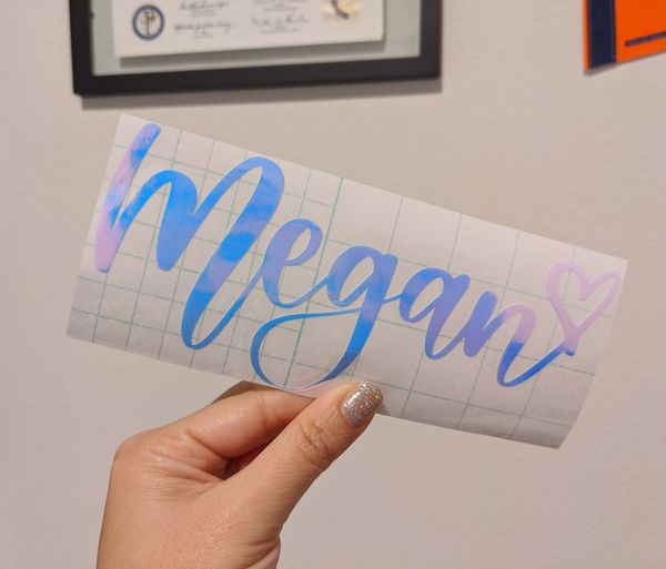 FOR LISA | Hand lettered holographic name decal, Hydroflask, Starbucks cup, tumbler decal
