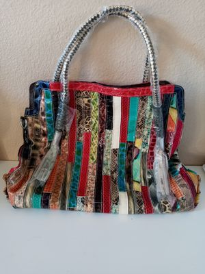Eye catching colorful leather bag. Brand New. Never used. for Sale in Corona, CA